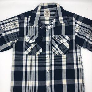 American Hawk boys button down plaid shirt S6